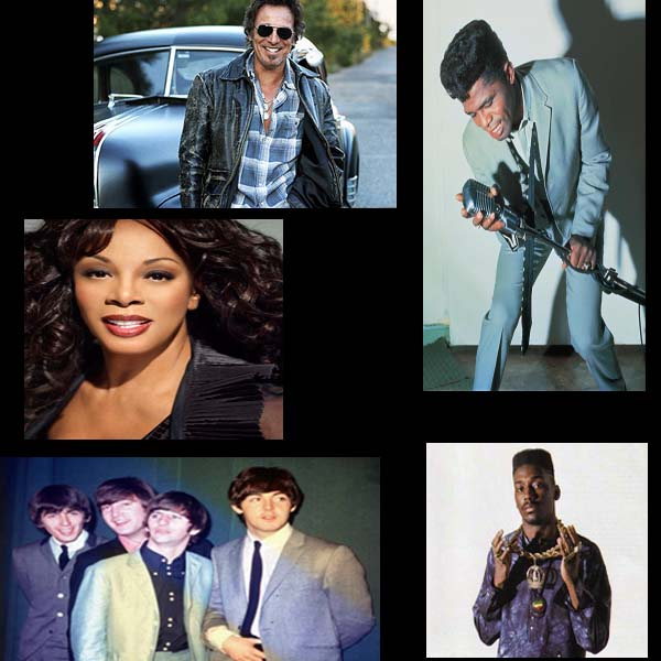 Bruce Springsteen, James Brown, Big Daddy Kane, The Beatles, Donna Summer